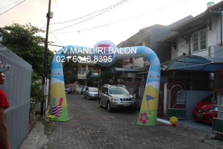 Jual, Produksi dan sewa balon gate murah logo karnaval three